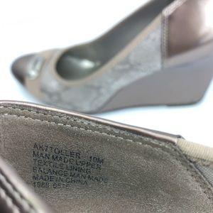 Anne Klein Sport Shoes - Anne Klein Sport Metallic Taupe Snakeskin wedges